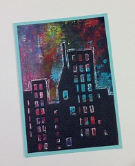 city lights (juliajae) Tags: atc artisttradingcard mixedmedia swapexchange city paint