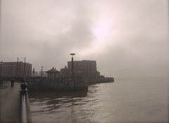 Fog on the Mersey (Englepip) Tags: fog river water cloud filteredsunlight reflections rivermersey liverpool docks albert