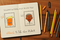 orange is the new black (brescia, italy) (bloodybee) Tags: 365project cartoon sketch draw notebook copybook moleskine paper pages pencil pen orangeisthenewblack tv series election usa america president barakobama donaldtrump orange black brown stilllife