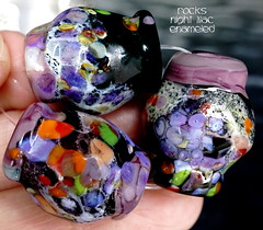 Rocks Night Lilac Enameled (Laura Blanck Openstudio) Tags: openstudio openstudiobeads glass handmade murano lampwork torched beads bead set big artist art arts fine artisan made usa rocks pebbles stones frit whimsical funky odd earthy organic abstract colrful multicolor lilac grape lavender purple violet jewelry published show winner festival italian argentinian gray black blue white enamel orange coral green peach eggplant plum amethyst transparent translucent cobalt shiny red burgundy mauve
