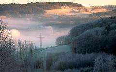 Frosty December Morning (be there...) Tags: landscape winter december morning sun light fog mist hoarfrost reif raureif frost landschaft hills electricity traction panorama