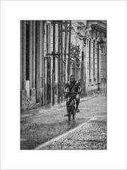 Wet day in Havana (tkimages2011) Tags: rain wet havana habana cuba city street cyclist man building water splash mono monochrome bike bicycle road puddle reflection