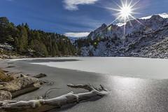 Estany Moreno, Principat d'Andorra (kike.matas) Tags: canoneos6d kikematas canonef1635f28liiusm estanymoreno encamp andorra andorre principatdandorra pirineos paisaje lago montaas nature nieve hielo tronco sol contraluz bosque canon lightroom4