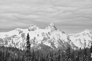 Storm clouds and peak near Mt. Rainier mono