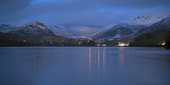 Wintry Evening, Grasmere (Nick Landells) Tags: grasmere lake lakedistrict helmcrag seatsandal village daffodilhotel daffodilhotelandspa autumn snow evening night