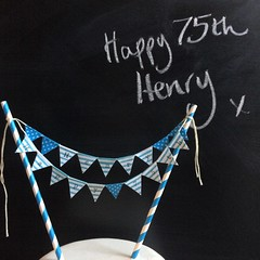 Henry Happy 75th (Emma Bunting) Tags: birthday bunting cake mini emma happy vintage retro straws handmade made britain