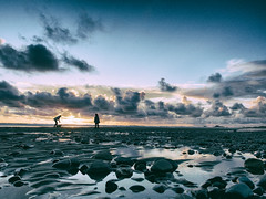 Coast to Coast (TriggerImage) Tags: 2014 bude clouds coast cornwall countryside england evening lowtide mryes nature outdoors pebble people person rural sea seaside shoreline silhouette stone summer tidal timkahane tri two engand