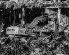 CrestWoodMallDemolition_SAF7448-3 (sara97) Tags: constructionequipment copyright©2016saraannefinke crestwoodmall demolition heavyequipment missouri outdoors photobysaraannefinke saintlouis bw blackandwhite blackwhite