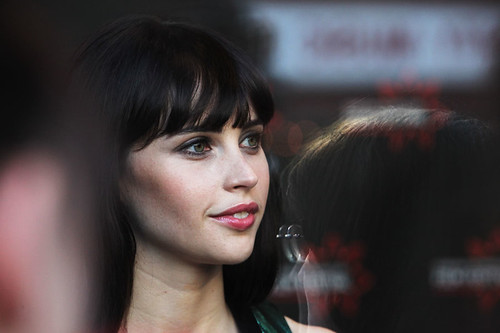 Felicity Jones on the red carpet for the European premiere of Breathe In