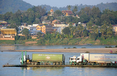 Freight on the Mekong (Oliver J Davis Photography (ollygringo)) Tags: china travel river thailand southeastasia commerce border container business trucks laos trade barge freight mekong frontier chiangkhong houayxai chiangraiprovince