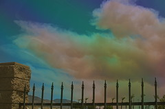 Encroachment (MPnormaleye) Tags: california southwest weather stone clouds rural america 35mm fire desert freeway utata viewpoint ironworks utata:project=tw381