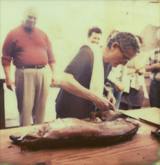 corey carving (lawatt) Tags: ranch film sx70 pig carving roast marshall instant px70 barinaga theimpossibleproject