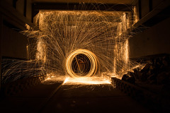 Wire / Steel Wool Painting / Spinning (RickDrew) Tags: hot wool water night dark circle fire wire steel orb spinning heat poi disc sparks