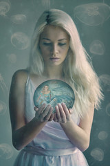 Crystal Ball (Sabry Ardore) Tags: ocean sea woman fish cute water girl beautiful photoshop ball model jellyfish mare crystal surreal fantasy blond editing mermaid medusa destino edit bionda sirenetta destinity