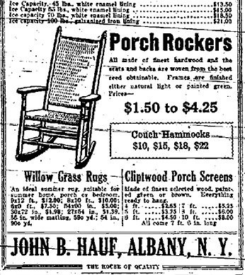 haufu0027s furniture store porch rocker ad albany ny early 1900s albany group archive