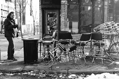 334/365 (local paparazzi (isthmusportrait.com)) Tags: street autumn windows portrait blackandwhite bw white snow black cold building texture window glass monochrome bike bar trash canon reflections lost outdoors person eos 50mm prime restaurant garbage pod downtown artist photographer chairs chimp squares pavement iso400 f14 candid seat wheels streetphotography free can sidewalk chrome forgotten messy chilly gutter chimpanzee usm madisonwi waste stool chimping caught curb cushion flickrmeet destroyed ef barstool visionary trashed gennas 2013 50mmf14usm 365project danecountywisconsin canon5dmarkii localpaparazzi redskyrocketman lopaps aperturelag