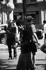 Darkness (Smith-Bob) Tags: barcelona street people bw espaa man men dark fan blackwhite football spain candid catalonia dude dudes blacknwhite bara fcbarcelona fcb lightnshade