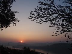 Sunset-Phou Si-Luang Prabang-Laos (mikemellinger) Tags: city sunset sun mountain nature water beauty river landscape flow town scenery southeastasia view hill large laos setting mekong touristattraction luangprabang mekongriver phousi middleofcity