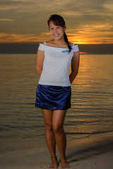 Monick at sunset #3 (id-image) Tags: ocean blue sunset red sea sexy girl beautiful yellow lady golden dress skirt filipina phl philippinen negrosoccidental sipalay