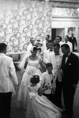 083659 04 (ndpa / s. lundeen, archivist) Tags: flowers boy wallpaper people blackandwhite bw woman man film girl monochrome 35mm children groom bride blackwhite veil dress nick bowtie august ringbearer tuxedo 1950s bouquet weddingparty flowergirl gown weddingdress groomsmen tux blacktie weddingreception 1959 unidentified formalattire dewolf bowties bridalgown whitetuxedo nickdewolf whitetuxedos photographbynickdewolf blacktuxedo locationunidentified