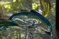 Love It! (BKHagar *Kim*) Tags: blue green glass yellow reflections dolphin collection dolphins sunroom artglass riversong bkhagar julesphotochallengegroup