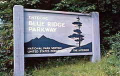 Blue Ridge Parkway Entrance (Edge and corner wear) Tags: road park blue sign vintage wooden pc nc graphics nps interior postcard united ridge national va parkway service states department