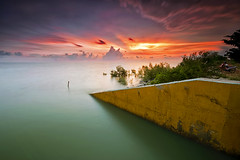 LE sunset at Sg Besaq (fiz_zero) Tags: longexposure sunset sea sky seascape motion nature water clouds landscapes nikon skies seascapes sunsets malaysia colourful selangor sigma1020mm singhray leefilter d7100 sungaibesar reversegnd iamnikon
