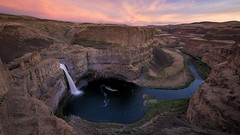 Palouse Falls-X3.jpg (bayborahan) Tags: statepark longexposure travel pink light sunset sky outcrop usa sun sunlight lake mountains green slr nature water grass rock clouds digital america photoshop river landscape photography us photo waterfall washington nikon unitedstates cloudy dusk unitedstatesofamerica fineart smooth canyon hills photograph le blended processing pacificnorthwest northamerica states dslr lacrosse goldenhour d800 blending palouse postprocessing travelphotography palouseriver palousefalls palousefallsstatepark thepalouse thefella conormacneill thefellaphotography