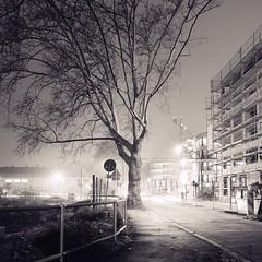Night Construction - Ludwigshafen, Germany (perrymanuk) Tags: longexposure nightphotography blackandwhite bw tree 6x6 film sepia night analog mediumformat germany square deutschland 50mm fuji hasselblad squareformat manual perry acros manuk ludwigshafen splittoned 501cm filmphotography schwarzundweis perrymanuk