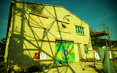 ŠKVER 2013 Mural (ŠKVER ART PROJECT) Tags: door building art festival project dark painting island graffiti mural gate mediterranean experimental culture croatia fringe event shipyard happening adriatic lussino 2013 malilošinj lošinj škver