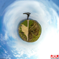 Burnley Wayside Arts Trail - Panorama Tiny Planet small (Richard Hayward Photography) Tags: world uk blue sky panorama cloud white colour tree green art nature grass metal canon circle landscape manchester outdoors photography eos photo shot singing angle image wind path pano small pipes wide picture wideangle mini trail photograph sphere richard tiny planet hayward noise capture smallworld ringing 360° panopticon burnley rhp 600d tinyplanet burnleypanopticon canoneos600d richardhaywardphotography