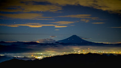 Fuji and city lights (shinichiro*) Tags:    jp 20160927ds39337 2016 crazyshin nikond4s planart1450zf fuji autumn september  yamanashi japan morning  seaofclouds