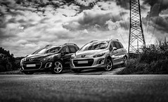 brothers in mind (ppel) Tags: peugeot 308 308sw 2012 lincancabur rims outside outdoor field path farm track power pole elektrical tower nikon nikkor 35mm d3200 black white schwarz weiss monochrome twins brothers clouds sky car cars photography