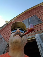 Pipe smoking by the old barn (hunter_185) Tags: pipesmoking tobaccopipe tobacco pipe barn ranch