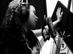 Ritmone Studios (O Harris) Tags: singer sonstress artist girl curls curlyhair brunette singing studio mic headphones canadian portrait monochrome canada ontario canon blackandwhite tattoo