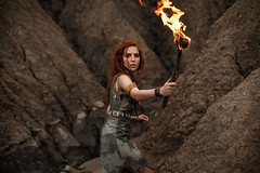 Something is out there (gsvoow) Tags: fantasy warrior woman torch imagination apprehension