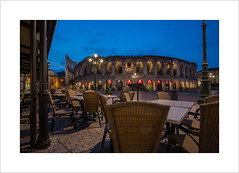 Front row seats at the Opera (Explore 15/10/16 #70) (andyrousephotography) Tags: italy verona arena opera concert amphitheatre roman restaurant lacostainbra dining tables chairs peoplewatching morning early dawn bluehour andyrouse canon eos 5d mkiii