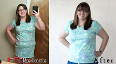 Nightie to T-Shirt Before and After (ShowAndTellMeg) Tags: refashion thrifted beforeandafter sewingwithknits tshirt newhem nightgown