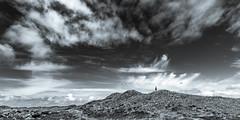 Big Sky, Little Guy (Kurt Evensen) Tags: dunes landscape grand silhouette vast look openfield bw contrasts monochrome blackandwhite person clouds