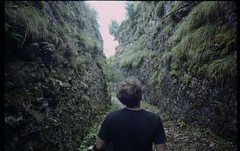 FERAL (Sacha Bertrand) Tags: analog analogue argentique film 35mm stone corridor boy back grass green walls labyrinth way