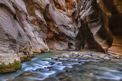 *The Narrows II* (albert.wirtz) Tags: usa albertwirtz unitedstates vereinigtestaaten utah zionnationalpark narrows hiking wandern zionnp thenarrows water wasser langzeitbelichtung longtermexposure nordamerika canyon schlucht felsen rocks indirekteslicht indirectlight virginriver creek bachlauf waterworks inexplore explored
