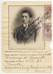 Venturino Crescenzi, 1898-1918 (Robert Barone) Tags: 1898 1916 crescenzi driverslicense giacinto lenola patente venturino vintage famiglia family fotodepoca onoratocrescenzi influenzaspagnola spanishflu
