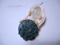 Winter Pines (LynzCraftz) Tags: polymerclay pendant resin art acrylicpaint oneofakind handmade