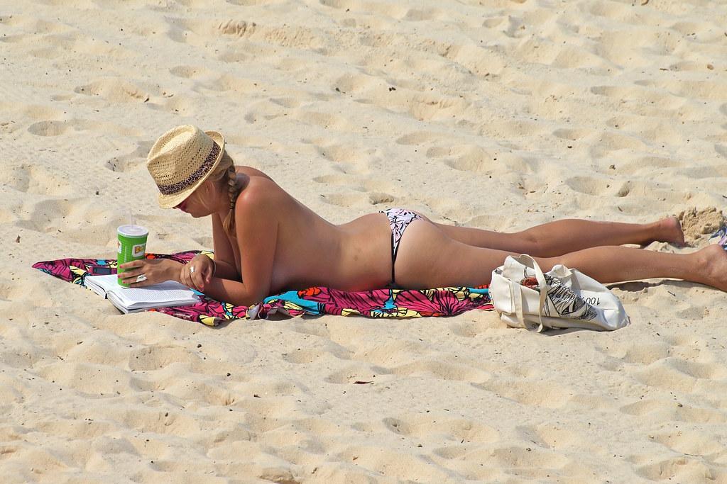 Night beach bikini girl topless want his