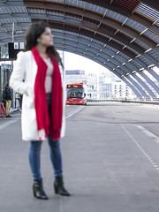Nathalie, Amsterdam 2016: Waiting on the bus (mdiepraam (35 mln views)) Tags: nathalie amsterdam 2016 centraal station platform portrait busterminal pretty beautiful elegant dutch brunette girl naturalglamour scarf jeans denim boots coat