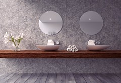Mountain Cleanse (Fergus Parsons 3D) Tags: bathroom sinks winter mountains mountain lake clean cool luxury rich wood woodflooring towels relax pristine timber