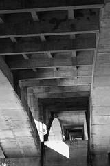 Under the bridge (désign) Tags: black blackandwhite bw grey water wasser wasserreflektion reflection perspective perspektive bridge down shadow shape schwarz schatten schärfentiefe schwarzweiss city structure stadt street stein stone