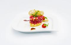 Tartar di Tonno Rosso di Sicilia su Dadolata dAnanas (lacookagency) Tags: photoshoot still life chef food dish white restaurant styling squid sicily background lacookagency gourmetidentity foodstyle