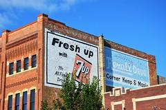 South Dakota, Watertown, 7-Up and Rexall Drug (EC Leatherberry) Tags: southdakota watertownsouthdakota codingtoncounty soda softdrink 7up rexalldrug wall advertisement