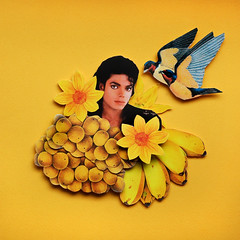 michael (Ania Cywiska [the.sparrows.and.the.nightingales]) Tags: yellow collage michael 3d assemblage traditional jackson
